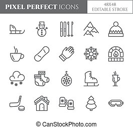 komplet, powinowaty, drzewo, śnieg, deska, doskonały, zima zwolnienie, temat, gorący, inny, vector., pixel, pije, elementy, odzież, icons., ferie, sleigh, kreska, pictograms., cienki, łyżwy, góry