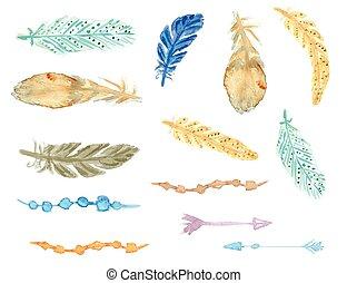 komplet, próbka, feathers., seamless, etniczny, style., krajowiec