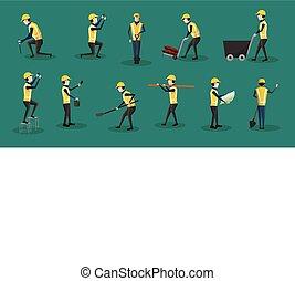 komplet, pracownik, -, ilustracja, wektor, litery, zbudowanie
