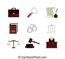 komplet, prawo, sprawiedliwość, ikony, prawny