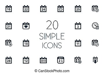 komplet, prosty, ilustracja, ćwierci, synonyms, wektor, ostateczny termin, icons., osiem, kalendarz, dwadzieścia-jeden, clock., inny, elementy, dolar
