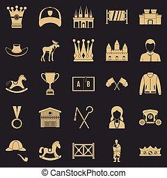 komplet, prosty, styl, jazda konna, ikony