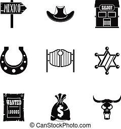 komplet, prosty, styl, kowboj, ikona