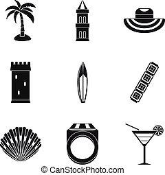 komplet, prosty, styl, mnóstwo, ikony
