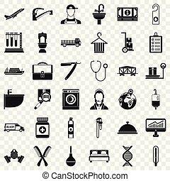 komplet, prosty, styl, okupacja, ikony