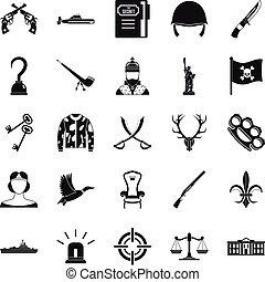 komplet, prosty, styl, rewolwer, ikony