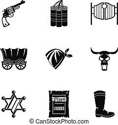 komplet, prosty, styl, szeryf, ikona
