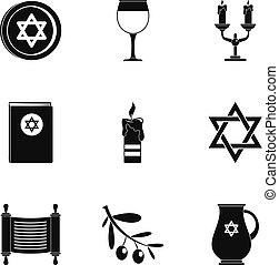 komplet, prosty, styl, theism, ikony