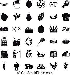 komplet, prosty, styl, utrzymanie, ikony