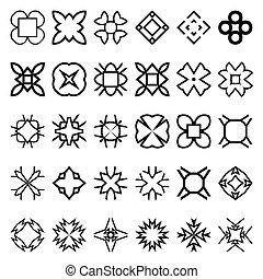 komplet, prosty, tworzyć, patterns., seamless, petycje, swatches, forms., geometryczny