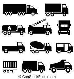komplet, przewóz, ciężarówki, ikona