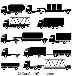 komplet, przewóz, ikony, -, symbols., wektor, czarnoskóry, white.