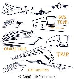 komplet, przewóz, pojazd, powietrze, travel., woda, ziemia