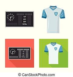 komplet, przybory, symbol, turniej, web., ilustracja, wektor, icon., piłka nożna, pień