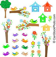komplet, ptaszki, z, birdhouses, drzewa