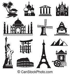 komplet, punkty orientacyjny, ikony