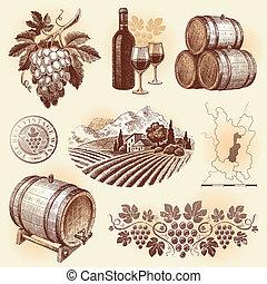 komplet, -, ręka, wektor, pociągnięty, winemaking, wino