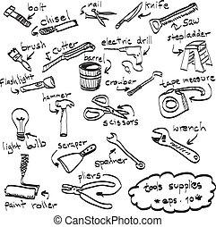 komplet, ręka, wektor, zaopatruje, pociągnięty, doodles, narzędzia