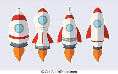 komplet, rakieta, odizolowany, tło, biały, majchry