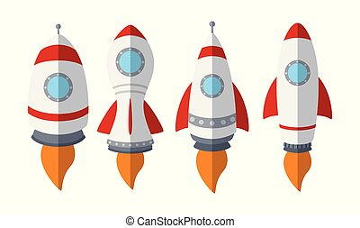 komplet, rakieta, odizolowany, tło, statek, biały