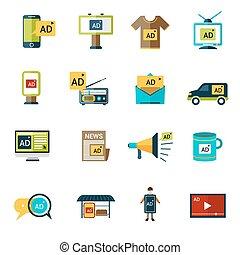 komplet, reklama, ikony