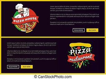 komplet, restauracja, dom, promocyjny, chorągwie, pizza
