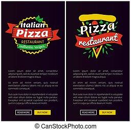 komplet, restauracja, ilustracja, wektor, pizza, włoski