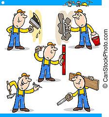 komplet, robotnik, pracownicy, podręcznik, litery, albo