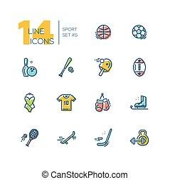 komplet, rodzaje, ikony, -, gruby, sport, kreska