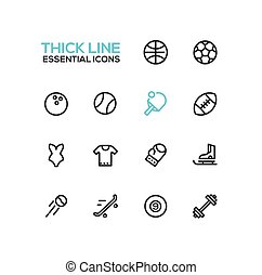 komplet, rodzaje, ikony, -, kreska, sport