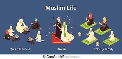 komplet, rodzina, arab