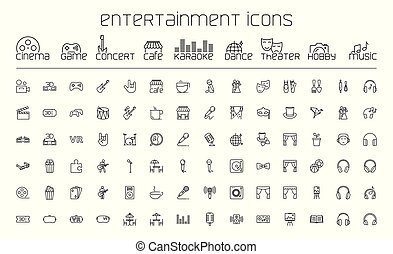 komplet, rozrywka, ikony, tło, kreska, biały