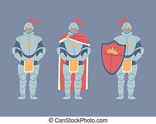 komplet, rycerze, średniowieczny, zbroja