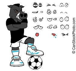 komplet, rysunek, dzik, wyrażenia, piłka nożna, zrzędny