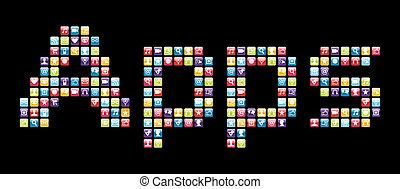 komplet, słowo, ikony, ruchomy, apps, telefon