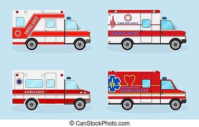 komplet, służba, nagły wypadek, wozy, medyczny, cztery, colors., vehicle., ambulans, prospekt., bok, czerwony wóz