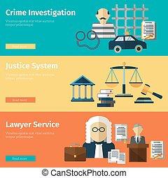 komplet, służba, sprawiedliwość, wektor, prawnik, chorągwie