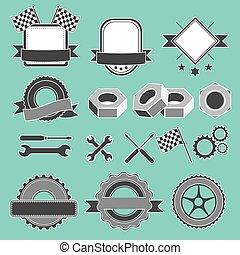 komplet, służba, wóz, emblemat, garaż, logotype, naprawa, mechanik