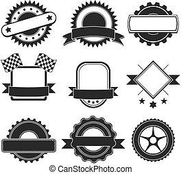 komplet, służba, wóz, logotype, garaż, element, naprawa, mechanik
