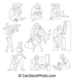komplet, samica, wprowadza nieporządek, isolated., wektor, litery, samiec, addictive