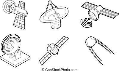 komplet, satelita, ikona, styl, szkic