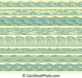 komplet, seamless, ilustracja, ocean, wektor, morze, brzegi, machać