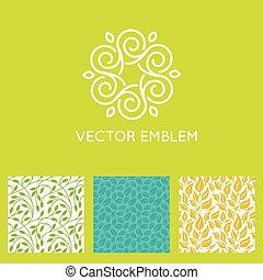 komplet, seamless, wzory, wektor, projektować, logo,...