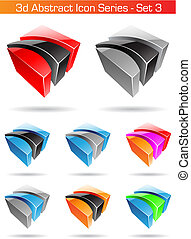 komplet, seria, abstrakcyjny, -, 3, ikona, 3d