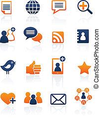 komplet, sieć, media, ikony, wektor, towarzyski