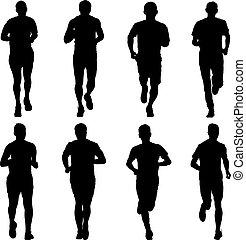komplet, silhouettes., ilustracja, men., wektor, biegacze, sprint