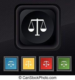 komplet, skalpy, sprawiedliwość, symbol., struktura, barwny, pikolak, wektor, czarnoskóry, szykowny, piątka, ikona, twój, design.