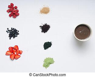 komplet, smoothie, acai, zdrowe jadło, jagoda