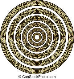 komplet, sortuje, sześć, grek, wektor, różny, klucz, brzegi, okrągły