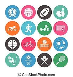komplet, sport, icons., stosowność